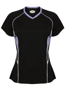 Jenny Ladies Fitted Top Gazelle Sports UK Yes XS/8 Col D) Black/ Lilac/ White