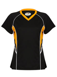 Jenny Ladies Fitted Top Gazelle Sports UK Yes XS/8 Col E) Black/ Amber/ White