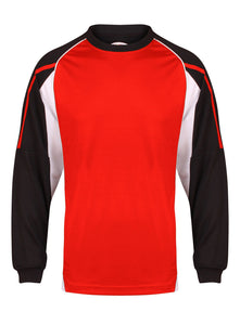 Teamstar Long Sleeve Crew Gazelle Sports UK Yes XS Col G) Black/ Red/ White