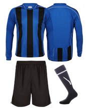 Load image into Gallery viewer, Adults Italia Football Kit Gazelle Sports UK Yes XS Col A) Royal Blue/ Black/ White