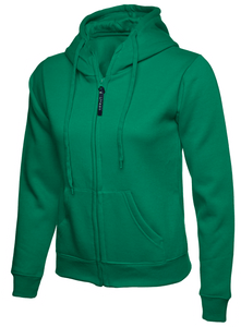 Womens Uneek Zip Up Hoody UC505 Sweatshirts / Hoodies Gazelle Sports UK XS/8 Green Yes