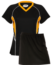 Load image into Gallery viewer, Ladies Netball / Hockey / Rounders V Neck Team Kits Gazelle Sports UK XS/8 Black/Amber/White YES
