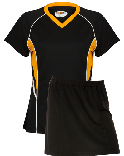 Ladies Netball / Hockey / Rounders V Neck Team Kits Gazelle Sports UK XS/8 Black/Amber/White YES
