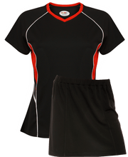 Load image into Gallery viewer, Ladies Netball / Hockey / Rounders V Neck Team Kits Gazelle Sports UK XS/8 Black/Red/White YES