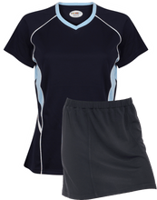 Load image into Gallery viewer, Ladies Netball / Hockey / Rounders V Neck Team Kits Gazelle Sports UK XS/8 Navy/Pale Blue/White YES
