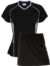 Load image into Gallery viewer, Ladies Netball / Hockey / Rounders V Neck Team Kits Gazelle Sports UK XS/8 Black/Lilac/White YES