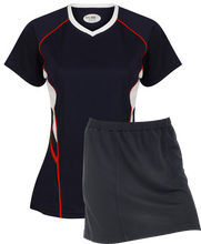 Load image into Gallery viewer, Ladies Netball / Hockey / Rounders V Neck Team Kits Gazelle Sports UK XS/8 Navy/White/Red YES