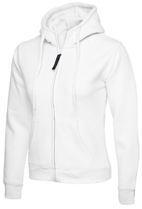 Womens Uneek Zip Up Hoody UC505 Sweatshirts / Hoodies Gazelle Sports UK XS/8 White Yes