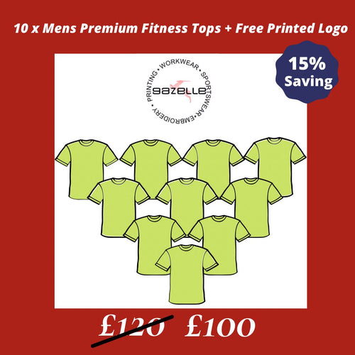 10 Premium Fitness Tops + Free printed Logo Offers Gazelle Sports UK