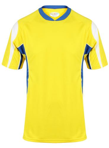 Rio Crew sports top Gazelle Sports UK Yes XS Col A) Yellow/ Royal/ White
