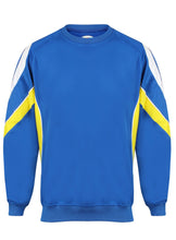 Load image into Gallery viewer, Rio Sweatshirt Kids Gazelle Sports UK Yes XSJ/26 Col A) Royal/ Yellow/ White