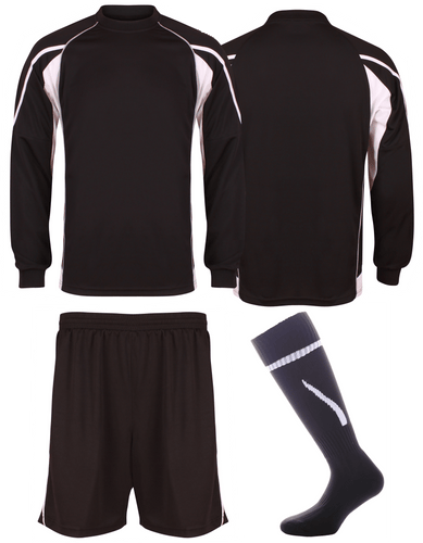 Adults Teamstar Long Sleeve Full Kit Gazelle Sports UK XS Black/Dove Grey/White Yes
