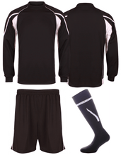 Load image into Gallery viewer, Kids Teamstar Long Sleeve Full Kits Gazelle Sports UK SJ/28 D Black/Dove Grey/White YES