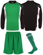 Load image into Gallery viewer, Adults Teamstar Long Sleeve Full Kit Gazelle Sports UK XS Black/Green/White Yes