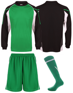 Adults Teamstar Long Sleeve Full Kit Gazelle Sports UK XS Black/Green/White Yes