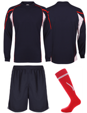 Load image into Gallery viewer, Adults Teamstar Long Sleeve Full Kit Gazelle Sports UK XS Navy/Red/White Yes