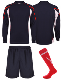 Adults Teamstar Long Sleeve Full Kit Gazelle Sports UK XS Navy/Red/White Yes