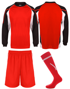 Adults Teamstar Long Sleeve Full Kit Gazelle Sports UK XS Black/Red/White Yes