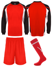 Load image into Gallery viewer, Kids Teamstar Long Sleeve Full Kits Gazelle Sports UK SJ/28 G Black/Red/White YES