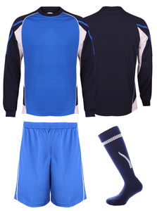 Adults Teamstar Long Sleeve Full Kit Gazelle Sports UK XS Navy/Royal/White Yes