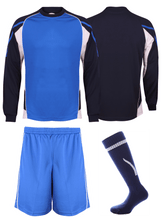 Load image into Gallery viewer, Kids Teamstar Long Sleeve Full Kits Gazelle Sports UK SJ/28 A Royal/Navy/White YES