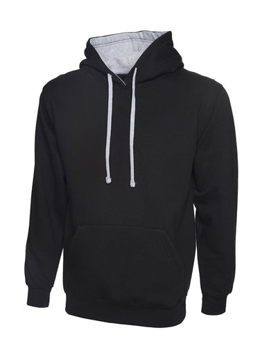 Uni-sex Contrast Hooded Sweatshirt Gazelle Sports UK XS Black/Heather Grey