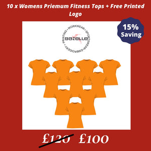 10 x Premium Womens fitness tops + Free Printed Logo Offers Gazelle Sports UK