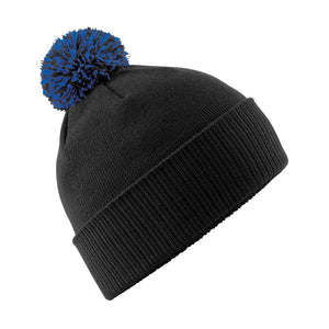 Snowstar Beanie Hat with two Tone Pom Pom Gazelle Sports UK Black/Royal No