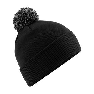 Snowstar Beanie Hat with two Tone Pom Pom Gazelle Sports UK Black/Grey No
