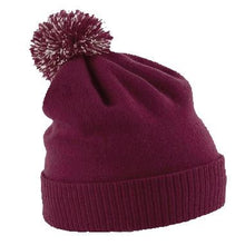 Load image into Gallery viewer, Snowstar Beanie Hat with two Tone Pom Pom Gazelle Sports UK Burgundy/off White No