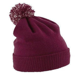 Snowstar Beanie Hat with two Tone Pom Pom Gazelle Sports UK Burgundy/off White No