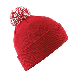 Snowstar Beanie Hat with two Tone Pom Pom Gazelle Sports UK Red/White No