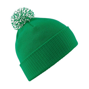 Snowstar Beanie Hat with two Tone Pom Pom Gazelle Sports UK Green/White No