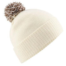 Load image into Gallery viewer, Snowstar Beanie Hat with two Tone Pom Pom Gazelle Sports UK Off White/Mocha No