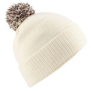 Snowstar Beanie Hat with two Tone Pom Pom Gazelle Sports UK Off White/Mocha No