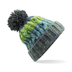 Adults Corkscrew pom pom Beanie Headwear Gazelle Sports UK Electric Grey No