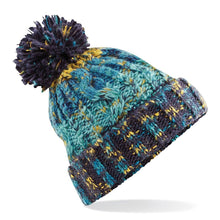Load image into Gallery viewer, Adults Corkscrew pom pom Beanie Headwear Gazelle Sports UK Marine Splash No
