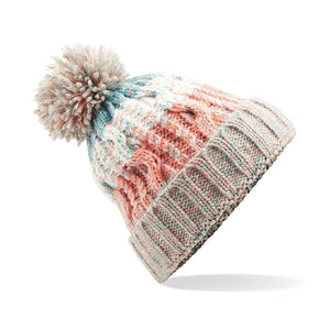 Adults Corkscrew pom pom Beanie Headwear Gazelle Sports UK Milkshake Mix No