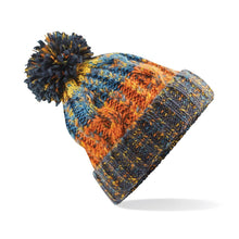 Load image into Gallery viewer, Adults Corkscrew pom pom Beanie Headwear Gazelle Sports UK Retro Blues No