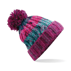 Adults Corkscrew pom pom Beanie Headwear Gazelle Sports UK Winter Berries No