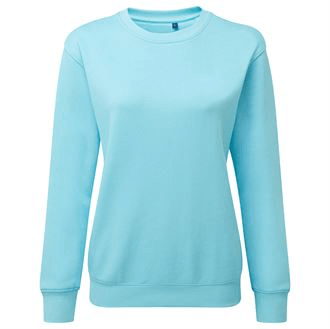 Womens Classic Organic Cotton Sweatshirt AQ079 Gazelle Sports UK Yes Light Blue S/10