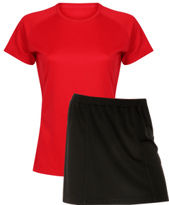 Ladies Netball / Hockey / Rounders Team Kits Gazelle Sports UK XS/8 RED/BLACK YES
