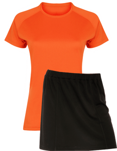 Ladies Netball / Hockey / Rounders Team Kits Gazelle Sports UK XS/8 ORANGE/BLACK YES