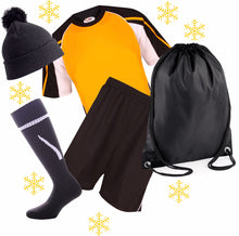 Load image into Gallery viewer, Personalized Kids Sports Kit Gift Set Gazelle Sports UK XSJ/26 (6/7Yrs) H Black/Amber/White