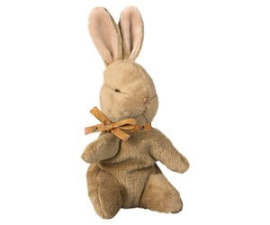Brown Baby Bunny with Ocher Ribbon