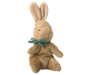 Brown Baby Bunny with Blue Ribbon