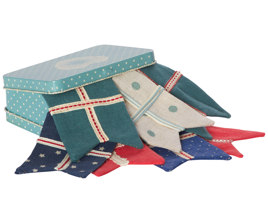 Flag Garland in Blue Suitcase