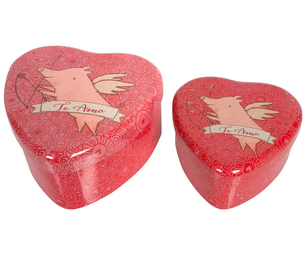 Metal Pig Heart Shaped Tin, 2 Piece Set