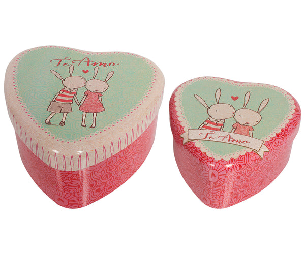 Metal Rabbit Heart Shaped Tin, 2 Piece Set