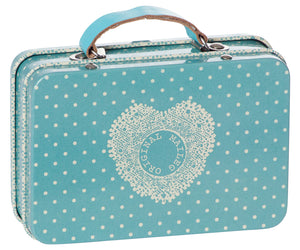 Metal Suitcase, Blue Small Dots